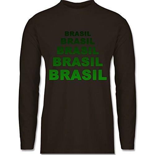 Shirtracer Länder - Brasil Fanshirt - Herren Langarmshirt Braun