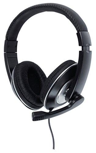Eurosell - Designer Headset Stereo Kopfbügel Kopfhörer gepolstert + Mikrofon Pc Computer - 2 x 3.5 mm Kabel - schwarz - mit Lautstärkeregler