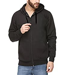Scott Mens Premium Rich Cotton Pullover Hoodie Sweatshirt with Zip - Black
