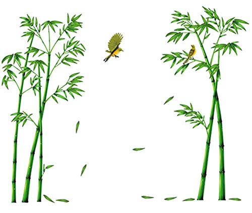 COVPAW Wandtattoo Wandaufkleber XXL Bambus Grün Wandsticker Wandbild Bilder Wohnzimmer Schlafzimmer Deco