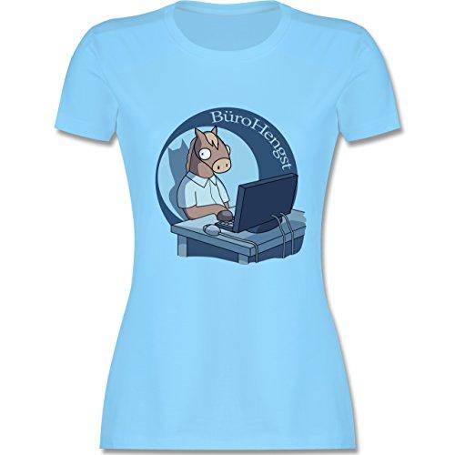 Statement Shirts - BüroHengst - tailliertes Premium T-Shirt mit Rundhalsausschnitt für Damen Hellblau