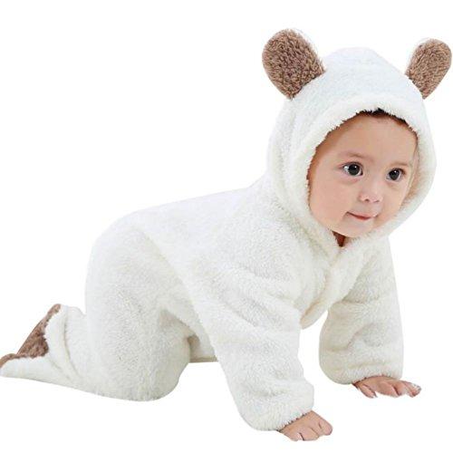Baby Bär Stil Strampler,Hankyky Baby Mädchen Junge Spielanzug Flanell Baumwolle Winter Overall Tier Kostüme Hooded Bekleidung Outfits 0-12 Monate (Bodysuit Kostüm Muster)