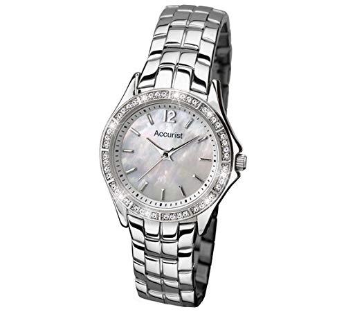 Accurist orologio, quadrante bianco in acciaio INOX bracciale da donna LB1518