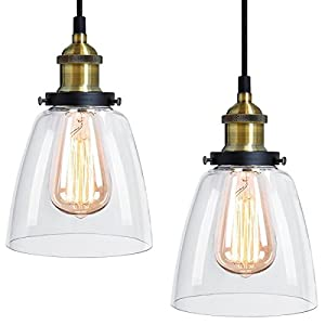 2 x Modern Vintage Victorian Bronze Metal Ceiling Pendant Glass Lamp Shade Chandelier BF-4 by Long Life Lamp Company