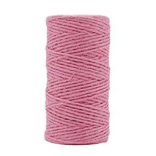 Tenn Well 2mm Jute Twine, 328 Feet Natural Jute String for Gardening, Gift Wrapping, Decoration, DIY Crafts (Pink)