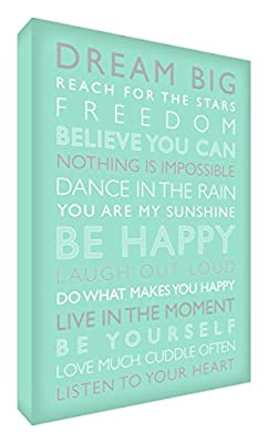 Feel Good Art Gallery Wrapped Box Canvas with Solid Front Panel (30 x 20 x 4 cm, Small, Mint Green, Be Happy from the Inspiration Collection) - low-cost UK light store.