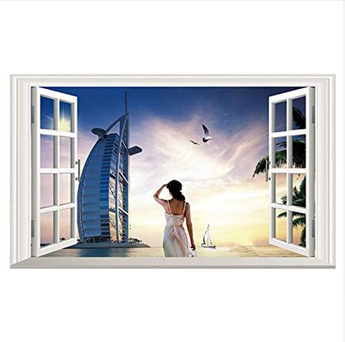 (MYLOOO Stadt Poster Meerblick Wandbild Sydney Landschaft 3D Gefälschte Fenster Vinyl Wandaufkleber Home Hotel Dekoration Klebstoff Tapete 60x90cm Weihnachten)