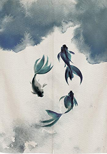 SK Studio Japanische Noren Vorhang Türvorhang Tapisserie Fliegen Insektenvorhang Raumteiler Chinesische Malerei Style 14 33.46x59.1inch(85x150cm)