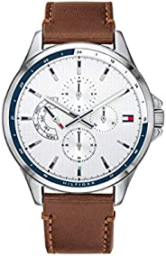Tommy Hilfiger Men'S White Dial Brown Leather Watch - 179