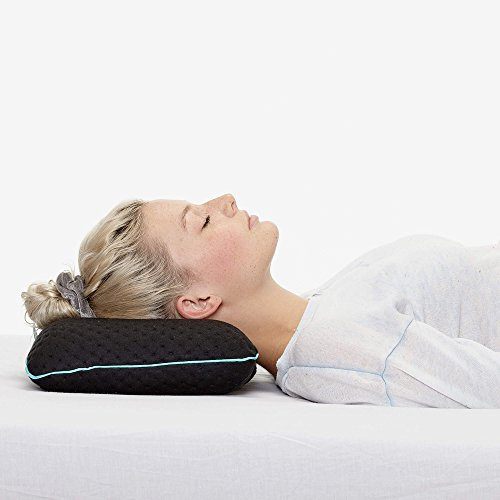 sofi small travel pillow in black | for travel and camping | soft memory foam for neck support | thermoregulate cover | 40x20x10 cm with bag (X-Black)