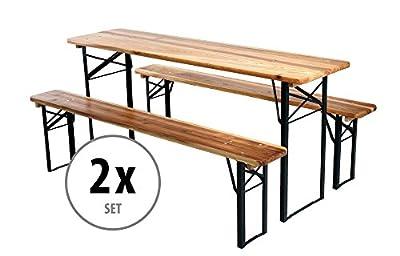 2er Set Stagecaptain Hirschgarten Bierzeltgarnitur 177 cm Länge (2 x Tisch, 4 x Bank, Holz, klappbar) natur