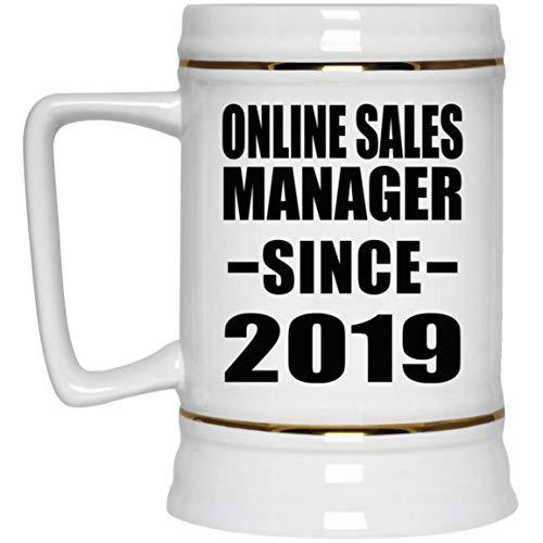 Online Sales Manager Since 2019-22oz Beer Stein Bierkrug Keramik Bierhumpen Bar Becher Kneipenkrug - Geschenk zum Geburtstag Jahrestag Muttertag Vatertag Ostern Sale Vintage Milk Glass