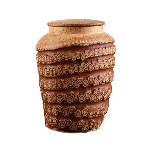 LIZONGFQ Urnen Natürliche Bambuswurzel Schnitzen Haustier Feuerbestattung Urne Für Asche, Versiegelte Bambus Lagerung Katze Memorial Asche Sarg (Medium, 4,7