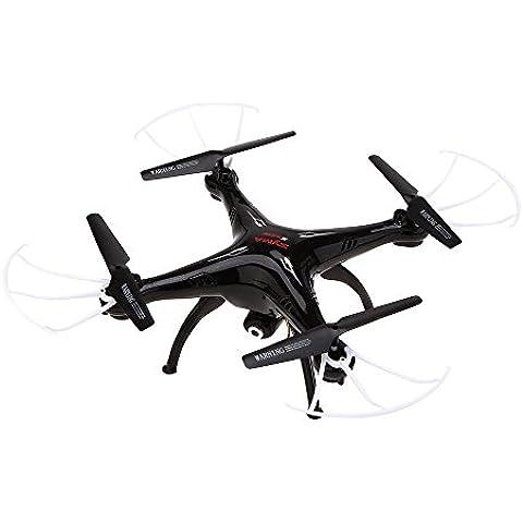 ILov SYMA X5SW X5SW-1 4CH 2.4G 6-Axis Gyro Headless Soporte móvil de Apple Control de IOS Android Wi-Fi Wifi FPV HD de 0.3MP cámara de 360 grados 3D balanceo Modo 2 RTF RC Quadcopter (Negro, X5SW+5 en 1 cargador+Batería*5+Carrying