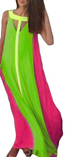 Abendkleider Frauen Maxikleider Swing Schößchen Knöchellang Fließendesärmellos Rundhals Cocktailkleid Lang Sommer Kleid Rot