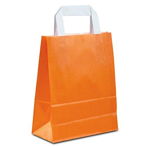(50 x Papier Geschenktüten orange 18+08x22 cm | stabile Mitgebseltüten klein | Partytüten | HUTNER)