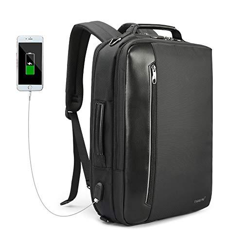 UBaymax Business Laptop Rucksack Herren, Mode 15,6 Zoll Notebook Schultertasche Reiserucksack mit USB-Ladeanschluss, Wasserdicht Multifunktions Aktentasche, Umhängetasche, Handtasche, Schwarz