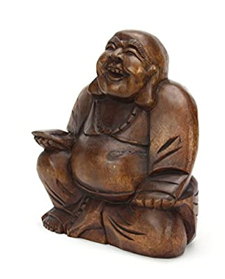 Chinese wooden Happy Buddha statue approx 16cm high