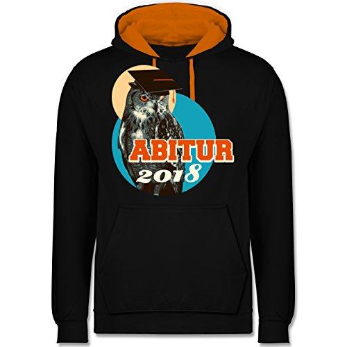 Abi & Abschluss - ABITUR 2018 Vintage Eule - Kontrast Hoodie Schwarz/Orange