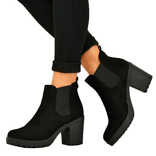 new-womens-ladies-chunky-block-heel-grip-sole-chelsea-ankle-boots-shoes-size-3-4-5-6-7-8-black-suede