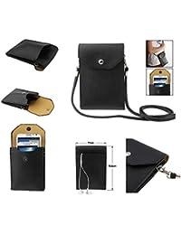 DFV mobile - Funda Tablet y Smartphone Piel Sintetica Bolso con Correa y Cierre por Clip Iman para => LENOVO S90 SISLEY > Negra