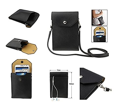DFV mobile - Universal Litchi Texture Leather Case Pocket Sleeve Bag with Lanyard for Tablet and Smartphone for => Qilive 4'' Q.4514 > Black