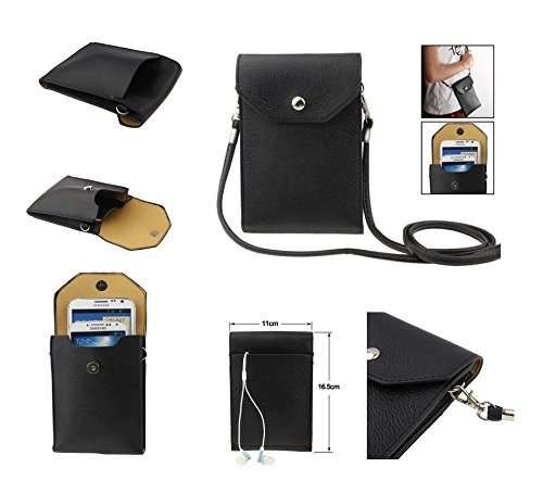 DFV mobile - Universal Litchi Texture Leather Case Pocket Sleeve Bag with Lanyard for Tablet and Smartphone for => ZTE MIMOSA X > Black