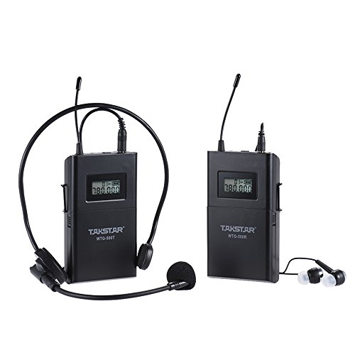 Ammoon Takstar UHF Wireless Akustik Übertragungssystem (Sender + Empfänger) 100m Effektive 6auswählbare Kanäle LCD Display mit Kopfhörer Lavalier Mikrofon 3.5mm auf 3.5mm Kabel (Lcd-sender)