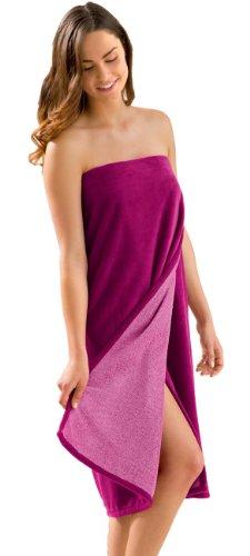 Morgenstern Saunakilt Damen Saunatuch fuchsia 90 cm lang Saunahandtuch zum Knöpfen mit Gummizug Frauen Baumwolle Microfaser Viskose