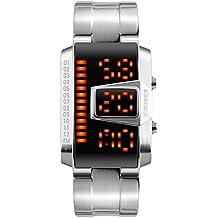 Moda LED Impermeable Rectángulo Correa de Acero Inoxidable Cuarzo Relojes Juveniles Relojes Chico Relojes Hombre, Plateado