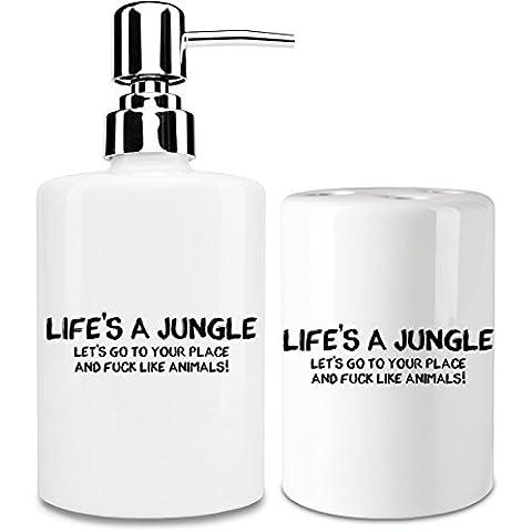 Life's a jungle Dispensador de jabón y Porta Cepillo de dientes