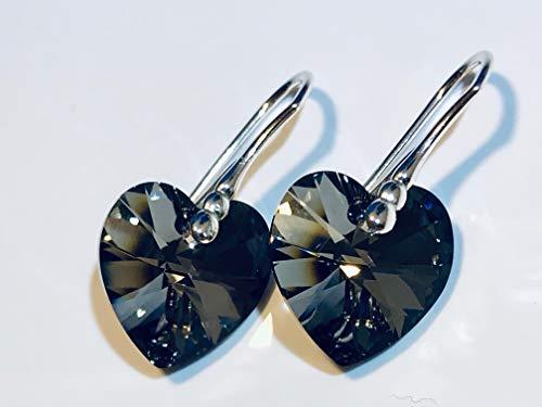 Swarovski Herz Kristall mit 925 Sterling Silber Ohrhänger Ohrringe verziert Xilion Heart Crystal Silver Night -