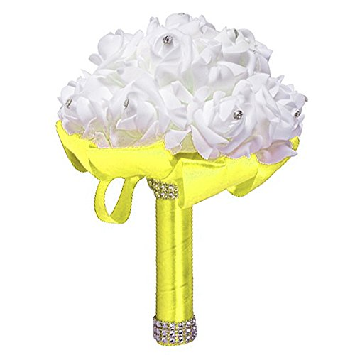 Wedding bouquet, wedding artificiale fiore sposa bouquet decorazione forniture fatto a mano con diamante roses, 10, l