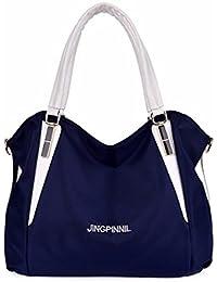 Bolsa de dama moda color de nylon bolso bolsa de damas de gran capacidad, azul