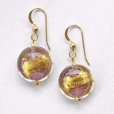 Diana Ingram shades of purple pastel & gold Murano glass