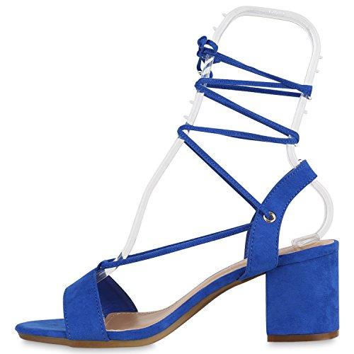 Damen Sandaletten Blockabsatz High Heels Quasten Fransen Schuhe Blau Velours Schnürer