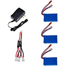 Kingtoys 3PCS 20C 7.4V 850Mah Lipo battery For Wltoys V912/V262/V353/V353B/V666/V333/V535/A949 A959 MJX F45/F46 UDI U829X F3P 3D RC Quadcopter +3 In 1 Battery Charge Cable + Battery Charger