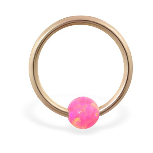 14K Gold Captive Bead Ring mit rosa synthetischer Opal Ball, Gauge: 12(nadeldicke)