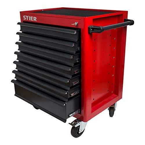 STIER Werkstattwagen leer, max. Belastung 500 kg, Vollauszug der Schubladen