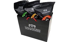 Hallingers 3er Premium Kaffee-Set, schonend geröstet (1.500g) - Crema (Two, Four, Six), 3x 500g (Aromabeutel) - zu Weihnachten