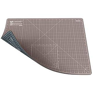 ANSIO A2 Doppelseitige selbstheilende Schneidematte - 5 Schichten/Imperial und Metrisch - Geeignet für Kunsthandwerk, Nähen. - Braun/Grau