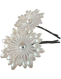 Sumati Fashion Exclusive Premium Quality Fancy Hair Accessories, Haipins with Flower (Pack of 5), White Flower, Hair Clip, Fancy Hair Latkan, Fashion Jwellery for women, Girls, Girlfriend, Sister,Wife, Mother