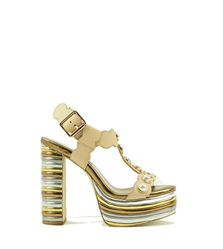 Sandalo Jeffrey Campbell Tancy in pelle cipria e multicolor Beige