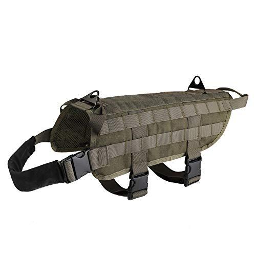 Reuvv taktisches Hundegeschirr für Militär Hund Training Geschirr Weste mit Ziehgriff Ausrüstung für große Hunde für Outdoor Training Walking, grün, S (Service-hund-ausrüstung)