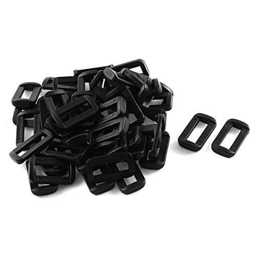Dealmux Plastique Barre diapositives Boucles 50 pcs Noir pour 20 mm Sangle en toile