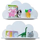 Estantes en la nube disponibles en blanco, rosa, azul o gris para niños, bebés, guarderías y dormitorios (2 estantes) estante flotante - BLANCO