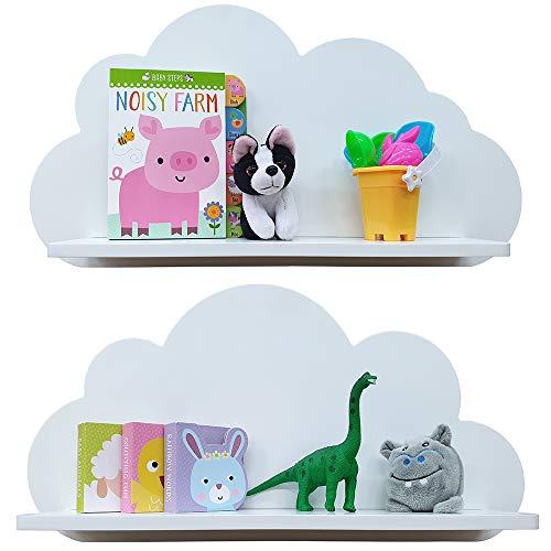 Mensole cloud in bianco, grigio, blu e rosa, per la camera dei bambini (2 ripiani) scaffali (bianco)