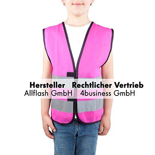Magenta Größe Kostüm 8 - Sicherheitsweste magenta Größe S für Kinder von 7-12 Jahren