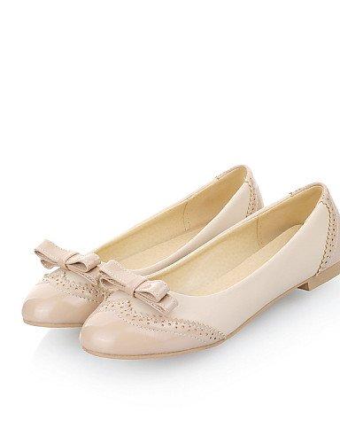 ZQ gyht Damenschuhe-Ballerinas-L?ssig-Kunstleder-Flacher Absatz-Rundeschuh-Rosa / Wei? / Beige beige-us8 / eu39 / uk6 / cn39