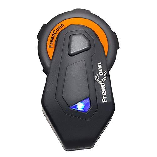 Motorrad Intercom für 6 Fahrer Gruppe Intercom, FreedConn T-Max Helm Bluetooth Headset für Motorrad Skifahren (1000m Reichweite, Wasserdicht, FM Radio, Voice Prompt, (1er Set)) Bei & T Bluetooth-headset